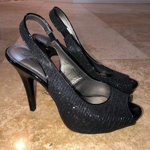 Lulu Townsend black glittery heels